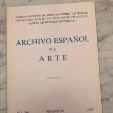 Libros antiguos: ARCHIVO ESPAÑOL DE ARTE-CSIC- MADRID 1987-LCV(13€). Lote 164984734