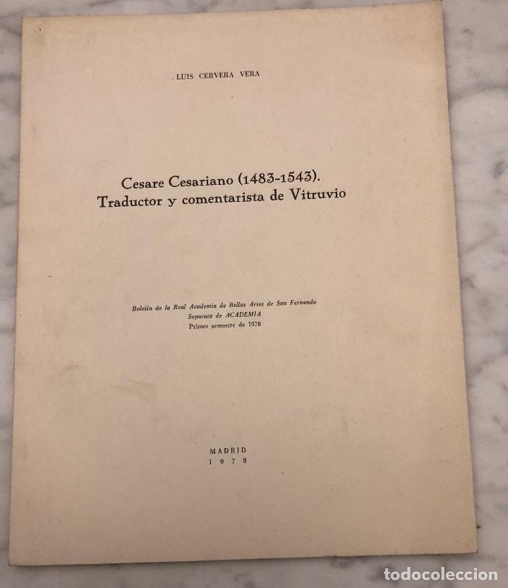 CÉSARE CÉSARIANO 1483-1543. TRADUCTOR Y COMENTARISTA DEVITRUBIO-RABASF-LCV(13€) (Libros Antiguos, Raros y Curiosos - Bellas artes, ocio y coleccionismo - Otros)