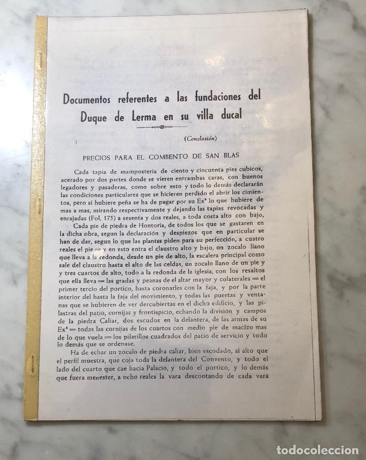 DOCUMENTOS REFERENTES A LAS FUNDACIONES DEL DUQUE DE LERMA EN SU VILLA DUCAL -LCV(13€) (Libros Antiguos, Raros y Curiosos - Bellas artes, ocio y coleccionismo - Otros)