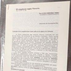 Libros antiguos: EL ARQUITECTO SEGÚN VI TRUVIO-ACCORRESP-LCV(13€). Lote 164984966