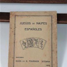 Libros antiguos: JUEGOS DE NAIPES ESPAÑOLES. EDITORES HIJOS DE H. FOURNIER. VITORIA. 1933.. Lote 165050594