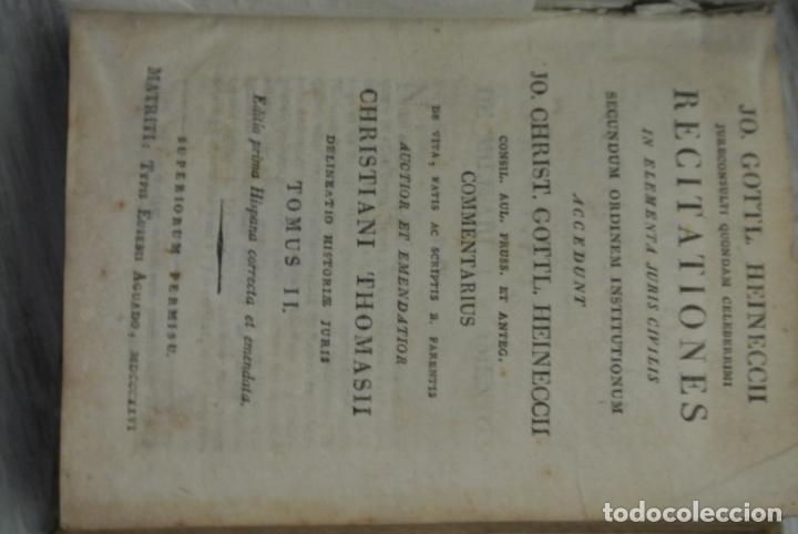 Libros antiguos: Recitaciones in elementa juris civilis 1726. Antiguo libro - Foto 3 - 165132442