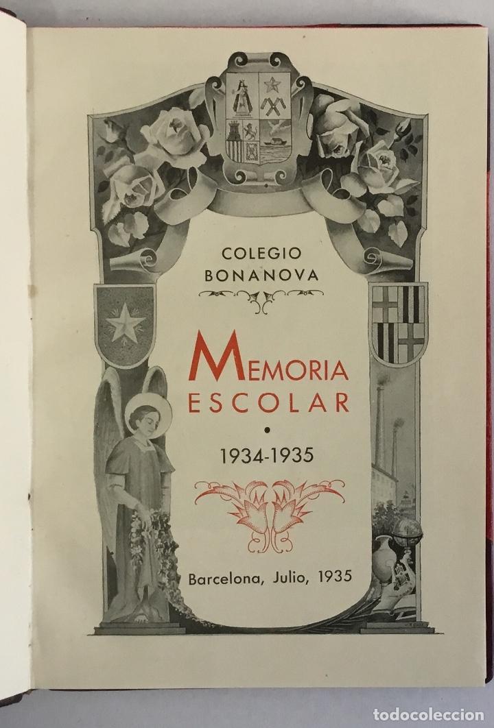 Libros antiguos: COLEGIO BONANOVA. MEMORIA ESCOLAR 1934-1935. - Foto 2 - 165210206