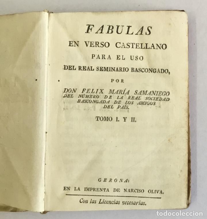 FABULAS EN VERSO CASTELLANO PARA EL USO DEL REAL SEMINARIO BASCONGADO... SAMANIEGO, FÉLIX MARÍA. (Libros Antiguos, Raros y Curiosos - Literatura Infantil y Juvenil - Otros)