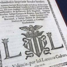 Libros antiguos: 1659 VALENCIA. NO HAY EJEMPLARES EN CCPB. ORDENES REALES SOBRE LA RESTITUCION DE LAS SISSAS.. Lote 165504682