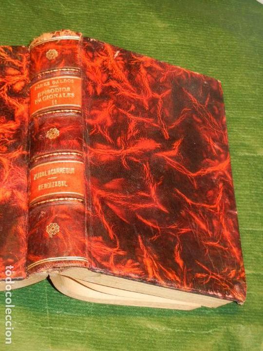 Libros antiguos: ZUMALACARREGUI - 1898 1a.Edicion, MENDIZABAL - 1929, DE BENITO PEREZ GALDOS EN UN VOLUMEN EN PIEL - Foto 2 - 165601298