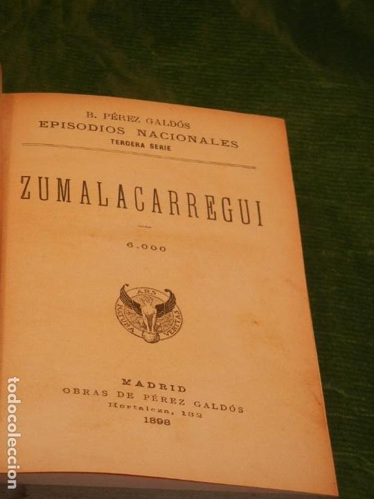 Libros antiguos: ZUMALACARREGUI - 1898 1a.Edicion, MENDIZABAL - 1929, DE BENITO PEREZ GALDOS EN UN VOLUMEN EN PIEL - Foto 3 - 165601298