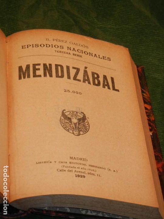 Libros antiguos: ZUMALACARREGUI - 1898 1a.Edicion, MENDIZABAL - 1929, DE BENITO PEREZ GALDOS EN UN VOLUMEN EN PIEL - Foto 4 - 165601298