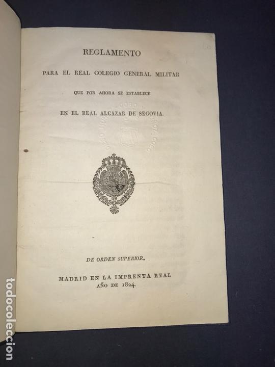 IMPRENTA REAL. 1824. REGLAMENTO PARA EL REAL COLEGIO GENERAL MILITAR ALCAZAR DE SEGOVIA. (Libros Antiguos, Raros y Curiosos - Historia - Otros)
