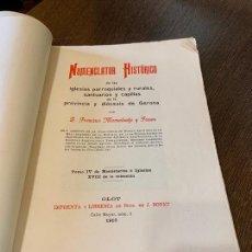Libros antiguos: NOMENCLATOR HISTORICO DE LAS IGLESIAS DE GERONA. MONSALVATJE. 1910. EJEMPLAR BIBLIOFILOS. 260PAGS. Lote 165840182