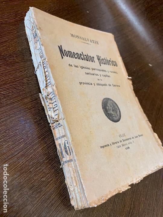 Libros antiguos: Nomenclator historico de las iglesias de Gerona. Monsalvatje. 1908. Ejemplar bibliofilos. 349pags - Foto 5 - 165840690