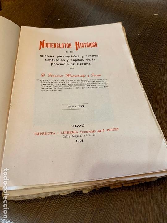 NOMENCLATOR HISTORICO DE LAS IGLESIAS DE GERONA. MONSALVATJE. 1908. EJEMPLAR BIBLIOFILOS. 349PAGS (Libros Antiguos, Raros y Curiosos - Historia - Otros)