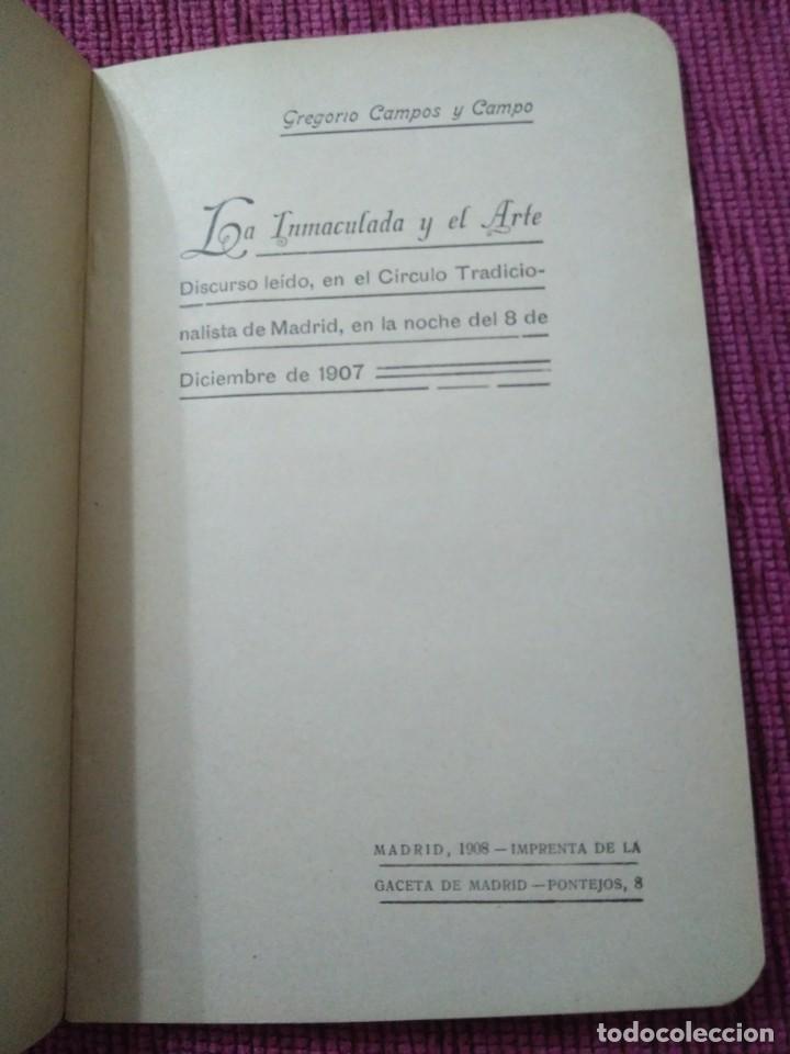 Libros antiguos: Firmado por su autor. La Inmaculada y el Arte. 1908. Gregorio Campos y Campo. - Foto 2 - 166462358