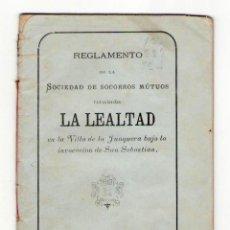 Libros antiguos: NUMULITE P0091 REGLAMENTO DE LA SOCIEDAD DE SOCORROS MÚTUOS LA LEALTAD VILLA DE LA JUNQUERA 1884. Lote 166660994