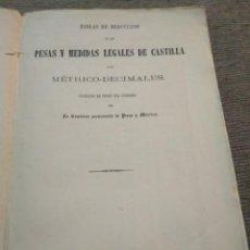 Libros antiguos: 1862. PESAS Y MEDIDAS LEGALES DE CASTILLA.. Lote 166732442