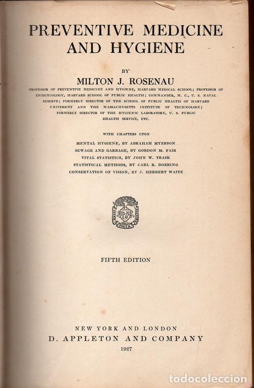 PREVENTIVE MEDICINE AND HYGIENE (MILTON J. ROSENAU) (Libros Antiguos, Raros y Curiosos - Otros Idiomas)