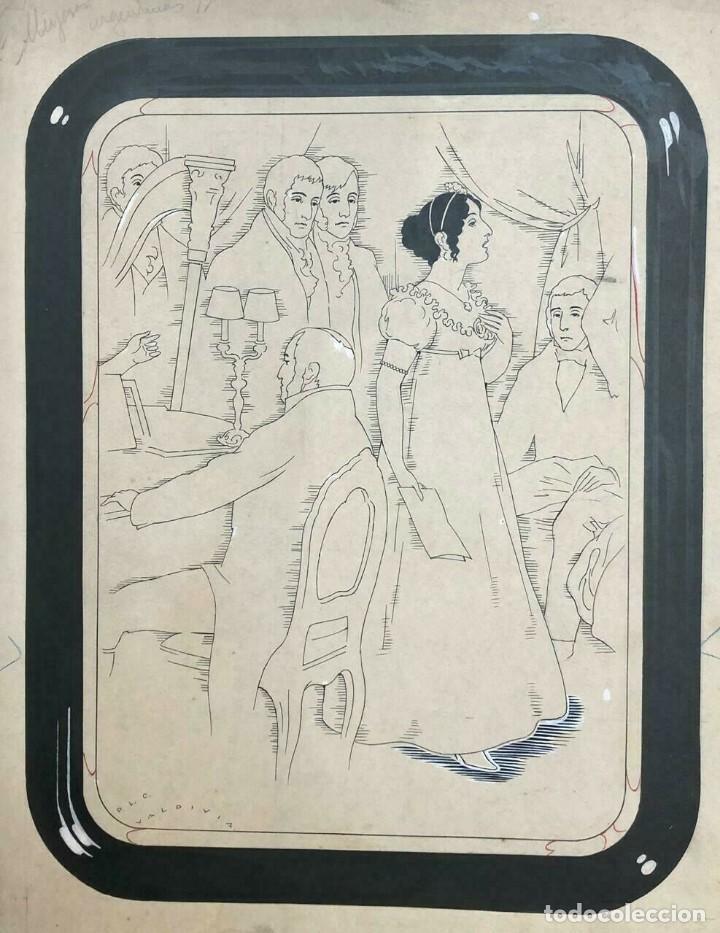 VÍCTOR VALDIVIA MUJERES ARGENTINAS. TINTA SOBRE PAPEL. MIDE: 36 X 30 CM. (Libros antiguos (hasta 1936), raros y curiosos - Literatura - Narrativa - Otros)