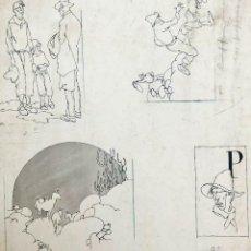 Libros antiguos: ALEJANDRO SIRIO - DIBUJOS PARA UN CUENTO DE FAUSTO BURGOS. TINTA SOBRE PAPEL. Lote 167052420