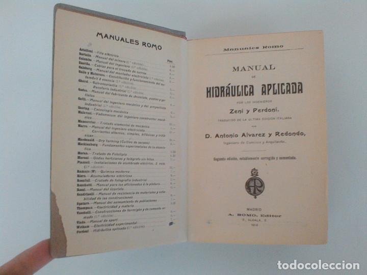 Libros antiguos: ZENI Y PERDONI. MANUAL DE HIDRAULICA APLICADA. MANUALES ROMO. TRAD. ANTONIO ALVAREZ Y REDONDO. 1914 - Foto 6 - 167056256