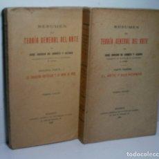 Libros antiguos: RESUMEN DE TEORÍA GENERAL DEL ARTE. PARTE PRIMERA Y SEGUNDA PARTE - I. 2 VOLÚMENES. 1935. Lote 167154220