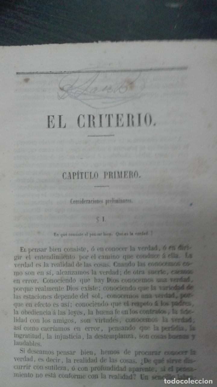 Libros antiguos: DON JAIME BALMES // EL CRITERIO // 1857 // cuarta EDICIÓN - Foto 2 - 167622372
