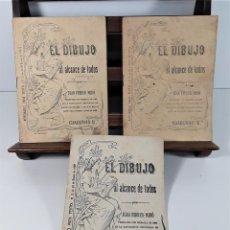 Libros antiguos: EL DIBUJO AL ALCANCE DE TODOS. 3 EJEMPALRES. JUAN FERRER MIRÓ. SIGLO XX.. Lote 167778420