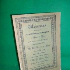 Libros antiguos: MEMORIA PRESENTADA A LA SOCIEDAD ECONÓMICA DE AMIGOS DEL PAÍS, CÓRDOBA, 1836, JOSÉ LUIS DE LOS HEROS. Lote 167836368