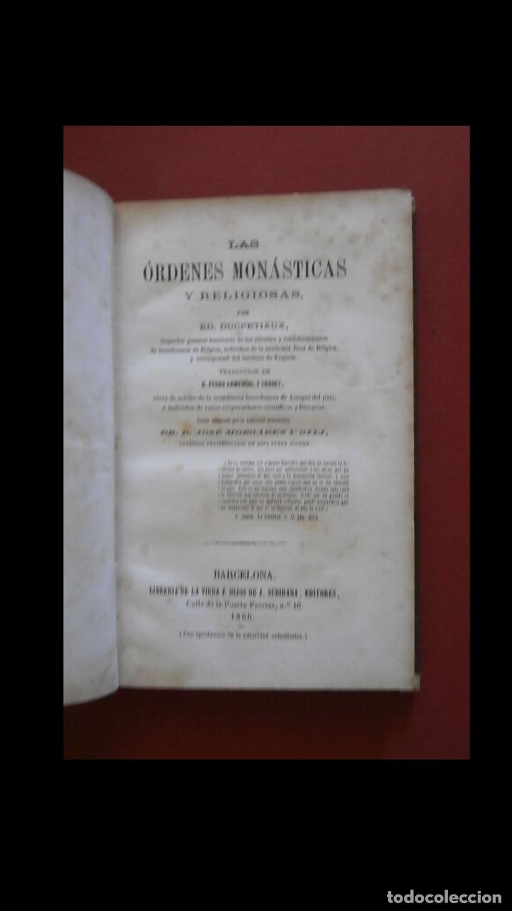 LAS ORDENES MONÁSTICAS Y RELIGIOSAS. ED. DUCPETIAUX (Libros Antiguos, Raros y Curiosos - Historia - Otros)