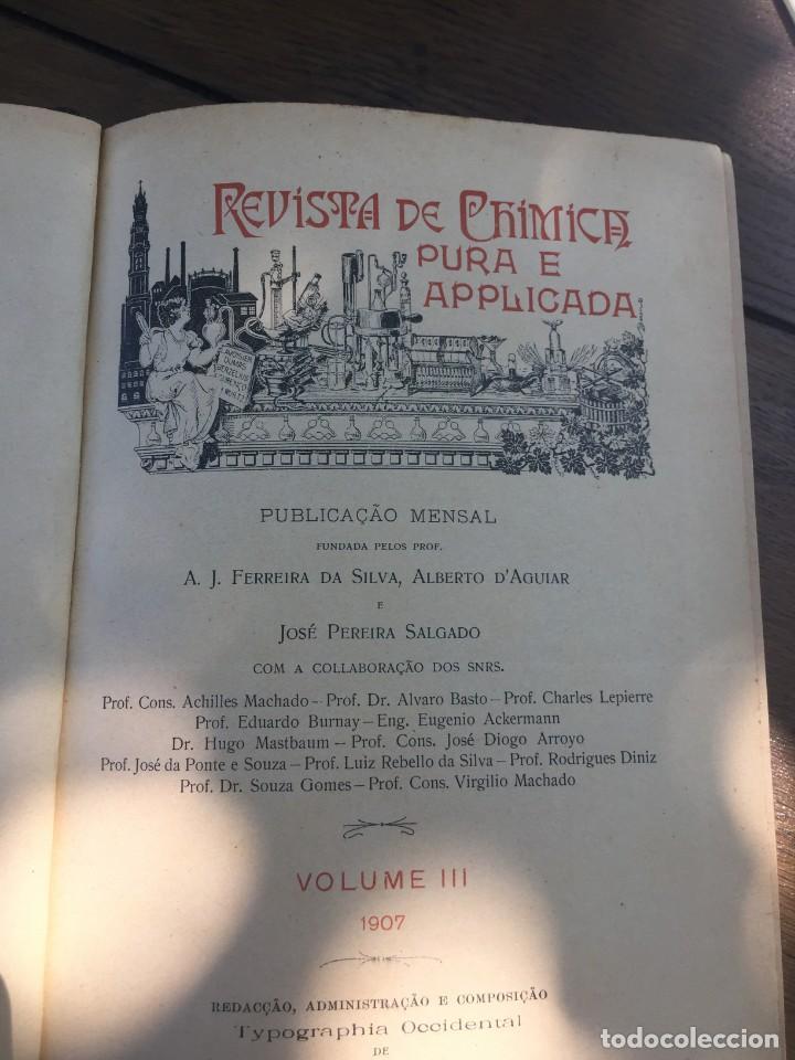 Libros antiguos: Libro quimica aplicada 1907 - Foto 4 - 167993804