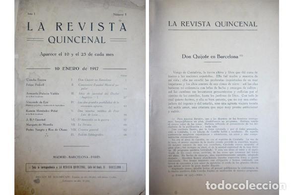 LA REVISTA QUINCENAL. AÑO I. Nº 1. 01 Y 06 1917. [CONCHA ESPINA: DON QUIJOTE EN BARCELONA...]. 1917. (Libros Antiguos, Raros y Curiosos - Literatura - Otros)