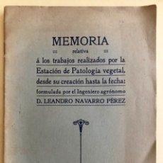 Libros antiguos: AGRICULTURA- PATOLOGIA VEGETAL- MEMORIA TRABAJOS REALIZADOS- LEANDRO NAVARRO- MADRID 1.911. Lote 168186660