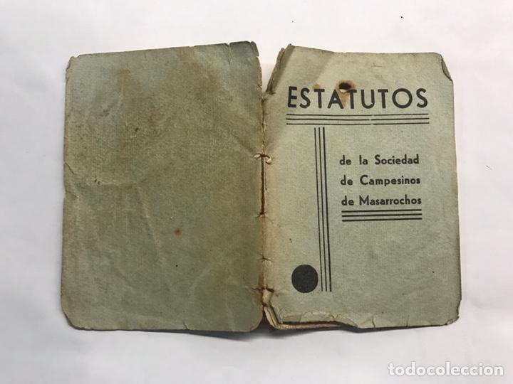 MASARROCHOS (VALENCIA) ESTATUTOS DE LA SOCIEDAD DE CAMPESINOS (A.1936) (Libros Antiguos, Raros y Curiosos - Ciencias, Manuales y Oficios - Otros)