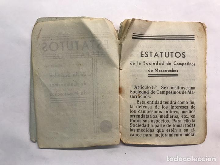 Libros antiguos: MASARROCHOS (Valencia) Estatutos de la Sociedad de Campesinos (a.1936) - Foto 2 - 168227356