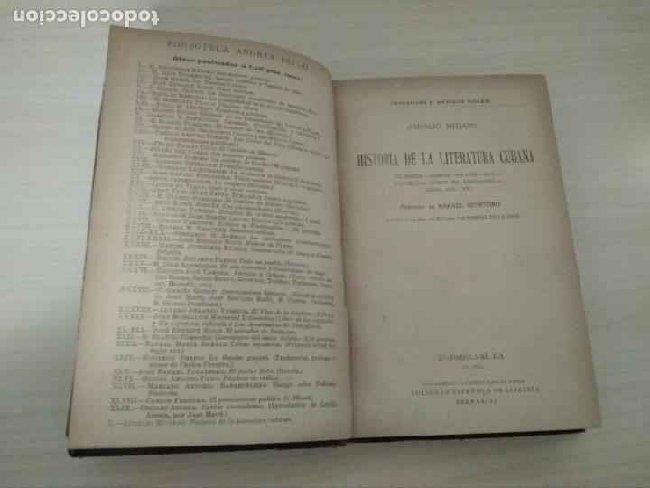 Libros antiguos: Historia de la Literatura Cubana. Aurelio Mitjans. 1918 - Foto 2 - 168315560