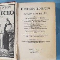 Libros antiguos: RUDIMENTOS DE DERECHO 1933. Lote 168483464