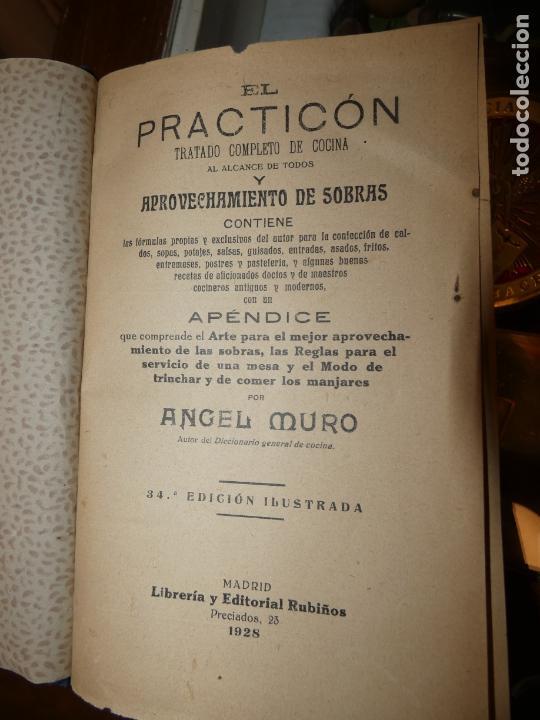 EL PRACTICÓN, TRATADO COMPLETO DE COCINA, ANGEL MURO AÑO 1928. 581 PÁGS. BIEN CONSERVADO (Libros Antiguos, Raros y Curiosos - Cocina y Gastronomía)