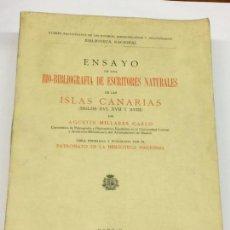 Libros antiguos: AÑO 1932 - BIO-BIBLIOGRAFÍA DE ESCRITORES DE LAS ISLAS CANARIAS (SIGLOS XVI, XVII Y XVIII) LIBROS. Lote 168696092