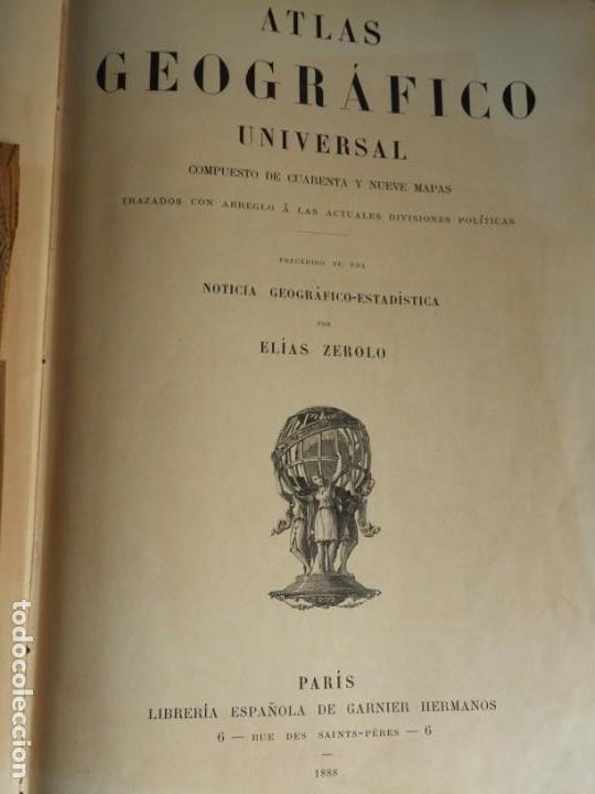 Libros antiguos: ATLAS GEOGRAFICO UNIVERSAL DE GARNIER HERMANOS 1888 - Foto 2 - 168859072