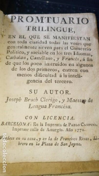 Libros antiguos: ~~~~ PROMTUARIO TRILINGUE, VOCES PARA EL COMERCIO POLITICO Y SOCIABLE, 1771 IMPRENTA, PERGAMINO ~~~~ - Foto 4 - 169215128