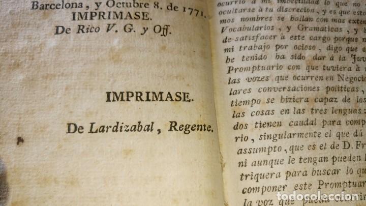 Libros antiguos: ~~~~ PROMTUARIO TRILINGUE, VOCES PARA EL COMERCIO POLITICO Y SOCIABLE, 1771 IMPRENTA, PERGAMINO ~~~~ - Foto 6 - 169215128