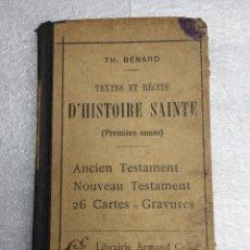 Libros antiguos: D´HISTORIE SAINTE AÑO 1923. Lote 169329580