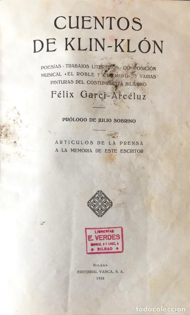 CUENTOS DE KLIN-KLÓN. FÉLIX GARCI-ARCÉLUZ. (1926). (Libros Antiguos, Raros y Curiosos - Literatura - Otros)