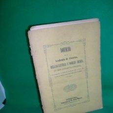Libros antiguos: NOTICIA DE LA ACADEMIA DE CÓRDOBA DE ESTA CIUDAD DE CÓRDOBA DESDE 1813 A 1846. Lote 169418804