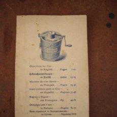Libros antiguos: LIBRO PARA USO DE LAS HELADERAS Y LA FABRICACION DE HELADOS EN 6 IDIOMAS ,CASTELLANO,FIN XIX. Lote 169948860