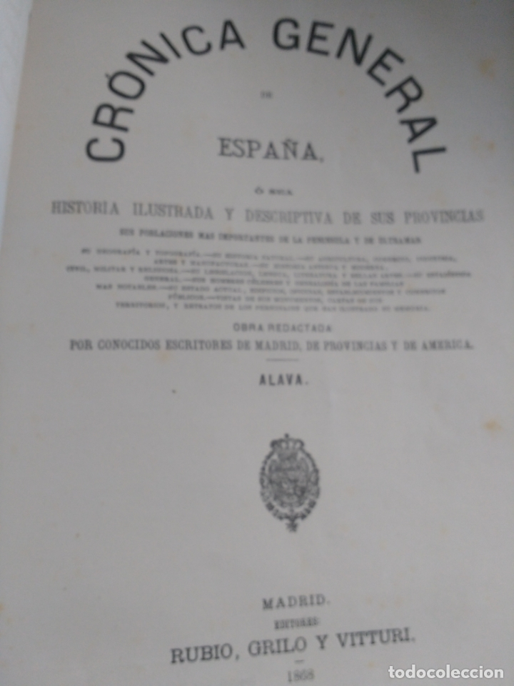 ALAVA, 1868 JOSE BISSO, CRÓNICA GENERAL DE ESPAÑA, HISTORIA ILUSTRADA DE LA PROVINCIA. CUADERNO 76 (Libros Antiguos, Raros y Curiosos - Bellas artes, ocio y coleccionismo - Otros)