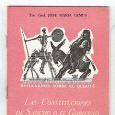 Libros antiguos: [CERVANTINA] LEMUS, JOSÉ MARIA. REFLEXIONES SOBRE EL QUIJOTE: LAS CONSTITUCIONES DE SANCHO. Lote 170166740