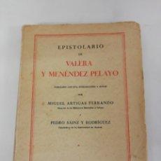 Libros antiguos: EPISTOLARIO DE VALERA Y MENENDEZ PELAYO. MIGUEL ARTIGAS. 1930. 1ª EDICION DE 3.300 LIBROS. SANTANDER. Lote 170203140