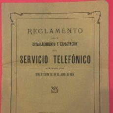 Libros antiguos: REGLAMENTO DEL SERVICIO TELEFONICO, REAL DECRETO DE 1914 BARCELONA. Lote 171170694