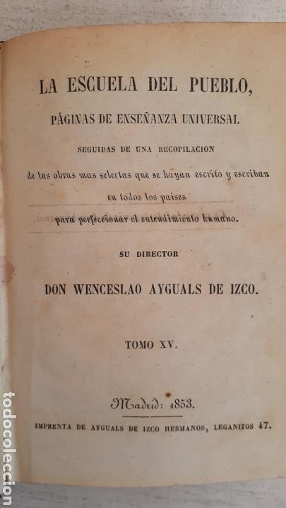 LIBRO LA ESCUELA DEL PUEBLO. TEATRO CRITICO UNIVERSAL BENITO GERONIMO FEIJOO 1853 (Libros Antiguos, Raros y Curiosos - Pensamiento - Otros)