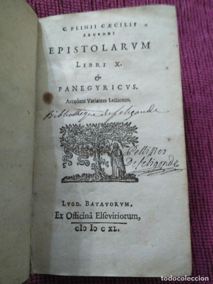1640. EPÍSTOLAS. PLINIO EL JOVEN. IMPRENTA ELZEVIRIANA. (Libros Antiguos, Raros y Curiosos - Pensamiento - Otros)